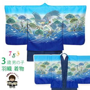 七五三 着物 3歳 男の子 花うさぎブランドの男児アンサンブル 合繊「水色、鷹」3AU824|kyoto-muromachi-st