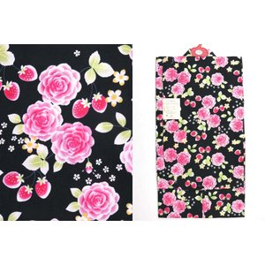 浴衣 子供 女の子 110  変り織りのこども浴衣「黒 薔薇とイチゴ」AGY11-322|kyoto-muromachi-st
