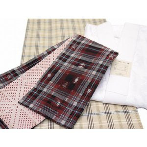 SALE!洗える着物 セット小紋 袷 Lサイズ ベージュ、絣風格子 とひさかたろまんの半幅帯&長襦袢3点セットAOL395set|kyoto-muromachi-st