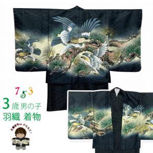 七五三 着物 3歳 男の子 着物 羽織 アンサンブル 合繊「黒地、鷹と松」BEN3-01|kyoto-muromachi-st