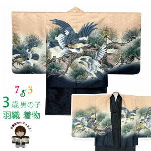 七五三 着物 男の子 3歳 羽織&着物のアンサンブル 合繊「黄色系、鷹と松」BEN3-02|kyoto-muromachi-st