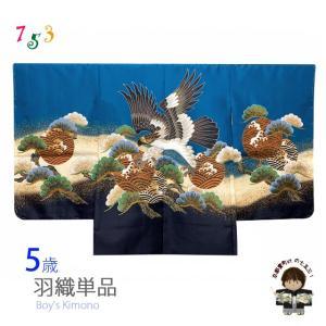 七五三 5歳 男の子 羽織 単品 (合繊) 「青、鷹と松」BHT522|kyoto-muromachi-st