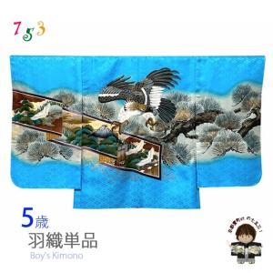 七五三 5歳 男の子 羽織 単品 (合繊) 「水色、鷹と絵巻物」BHT524|kyoto-muromachi-st