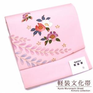 作り帯 お太鼓 軽装帯 着物 お太鼓結びの付け帯 合繊「ピンク 梅」BNO628|kyoto-muromachi-st