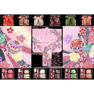 七五三 着物 7歳 子供着物 フルセット(正絹) ピンク、鞠に束ね熨斗 DHT252set|kyoto-muromachi-st