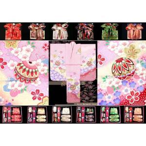 七五三 着物 7歳 子供着物 フルセット(正絹) ピンク、鞠に桜 DHT256set|kyoto-muromachi-st