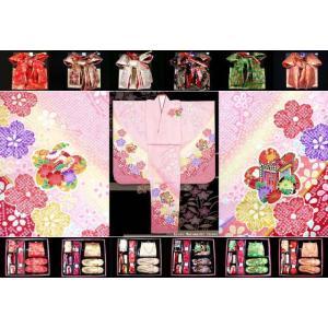 七五三 着物 7歳子供 フルセット 正絹 ピンク 花に御所車 DHT260set|kyoto-muromachi-st