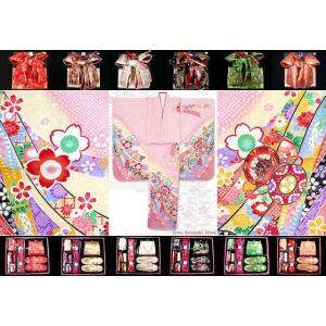 七五三 7歳 子供着物 フルセット 正絹 ピンク 鼓に熨斗・桜 DHT264set|kyoto-muromachi-st