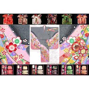 七五三 着物 セット 7歳 子供着物 フルセット 正絹 黒地、鼓に熨斗・桜 DHT266set|kyoto-muromachi-st