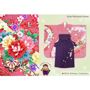 卒園式 袴 セット 子供 絵羽柄 着物 正絹「赤 花車」と刺繍袴「紫」DHT269ysm kyoto-muromachi-st