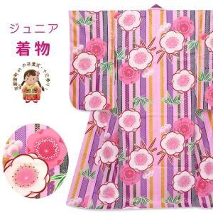 卒業式 二尺袖着物 単品 小学生向け 和がままブランドの着物(合繊)「桃紫 梅に笹の葉」DWJ4004|kyoto-muromachi-st
