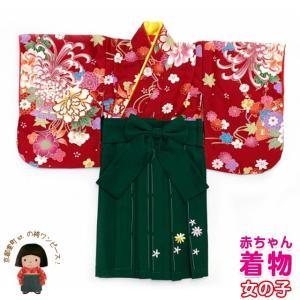 赤ちゃんの着物 初節句 お食い初めに 0歳-1歳女児用 袴ワンピース「着物:赤、菊に水引き 袴:モスグリーン」FAS061|kyoto-muromachi-st