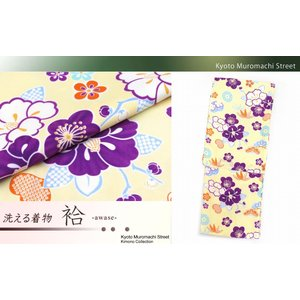 着物 単品 洗える着物 袷 小紋 Lサイズ「クリーム 椿と松竹梅」HAL568|kyoto-muromachi-st