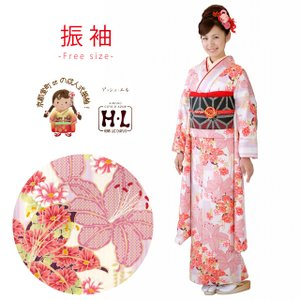 振袖 HLブランドのレディース振袖 小紋柄 成人式の振袖 お晴れ着に「ピンクベージュ系、百合」HL13-K31 kyoto-muromachi-st