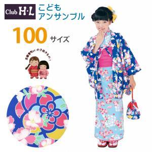 H・Lブランド 子供の着物アンサンブル 女の子 着物と羽織 6点セット 100cm「青×水色、なでしこ」HLEGset10-2907|kyoto-muromachi-st