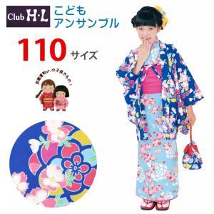 【少し訳あり】H・Lブランド 子供の着物アンサンブル 女の子 着物と羽織 6点セット 110cm「青×水色、なでしこ」HLEGset11-2907|kyoto-muromachi-st