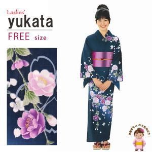 浴衣 レディース H・L ブランド浴衣 絵羽柄の女浴衣 フリーサイズ「紺、八重桜」HLY13|kyoto-muromachi-st