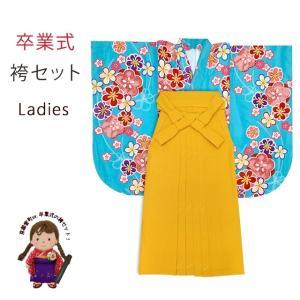 袴セット 卒業式 女子用 短尺 古典柄の小振袖(二尺袖の着物)と無地袴のセット 購入「水色、梅」HNI769TMY|kyoto-muromachi-st