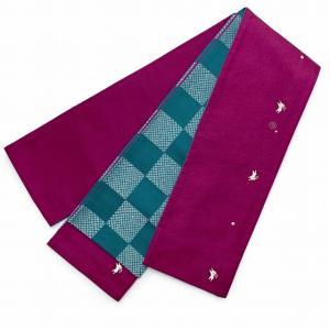 半幅帯 リバーシブル 着物 浴衣に おしゃれな半巾帯 細帯 合繊 400cm「赤紫、うさぎ」HOB918|kyoto-muromachi-st