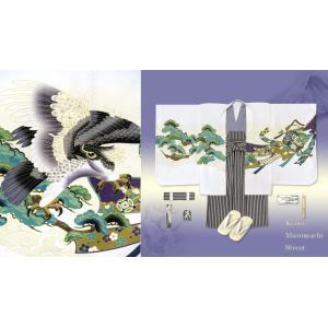七五三SALE!七五三、お正月に 5歳男の子のお祝い着 羽織・着物(合繊)「白地、鷹と熨斗」と縞袴のフルセットHOU571HB202|kyoto-muromachi-st