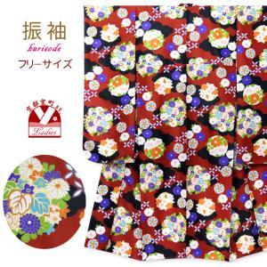 卒業式 着物 単品 レディース 小紋柄の振袖 合繊 フリーサイズ「エンジ×黒 古典柄」HPF1806 kyoto-muromachi-st