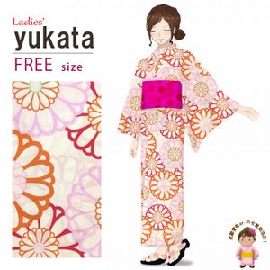 浴衣 レディース 単品 フリーサイズ 平織り モダンな女性浴衣「生成り 菊」HYF-6FS-B33|kyoto-muromachi-st