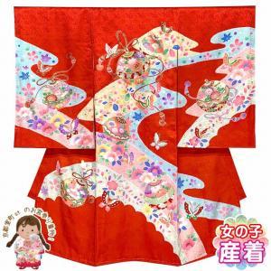 お宮参り 女の子 着物 正絹 日本製 赤ちゃんのお祝い着 (初着 産着) 襦袢付き「赤、鈴と蝶」IGU843|kyoto-muromachi-st