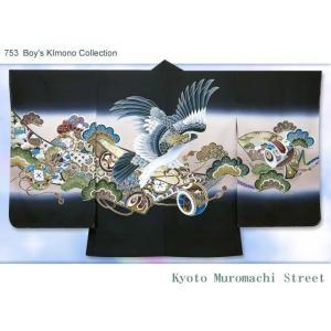 七五三 5歳男の子用 日本製の羽織単品(正絹)「黒地、鷹と鼓」IHH599|kyoto-muromachi-st