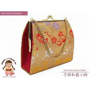 七五三 卒園式に 子供和装小物 金襴の和装バッグ「金、鞠と梅」IKB501 kyoto-muromachi-st