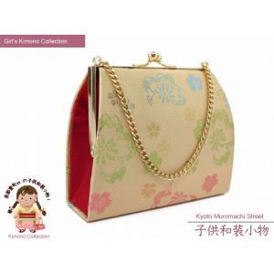 七五三 卒園式に 子供和装小物 金襴の和装バッグ「白金系、桜」IKB503 kyoto-muromachi-st