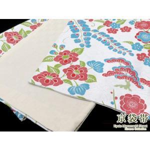 京袋帯(お仕立て上がり) 日本製「灰白色、藤と椿」KFO200|kyoto-muromachi-st