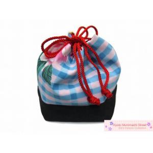 七五三に 子供和装小物 こども巾着「水色系、格子に花」KKN922 kyoto-muromachi-st