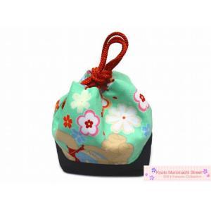 七五三に 子供和装小物 こども巾着「薄緑、花とクマさん」KKN934 kyoto-muromachi-st