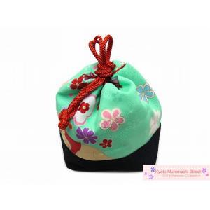七五三に 子供和装小物 こども巾着「薄緑、花とクマさん」KKN935 kyoto-muromachi-st