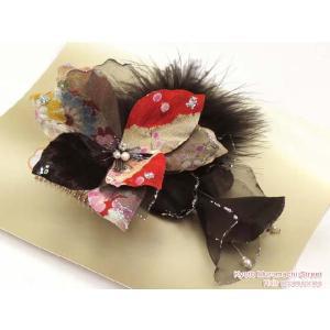 成人式振袖・卒業式袴髪飾り*花髪飾り 赤系、和柄花 KMK277|kyoto-muromachi-st
