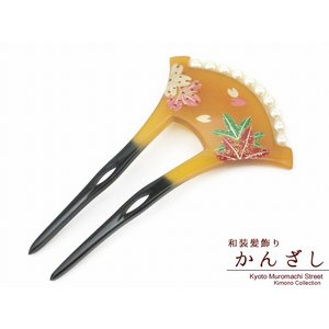 簪 バチ型 銀杏型 パールビーズ付きのかんざし 小さめ 「べっ甲風 桜ともみじ」KNZ606|kyoto-muromachi-st