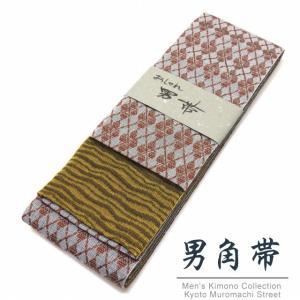 角帯 男性用角帯 日本製 浴衣や着物に「灰系x金茶、チェック柄」KOB1004|kyoto-muromachi-st