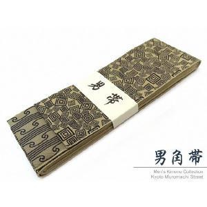 角帯 男性用角帯 浴衣 着物に「ベージュ系、三枡」KOB960|kyoto-muromachi-st