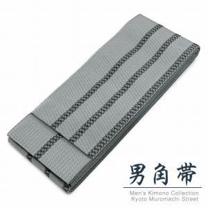 角帯 メンズ角帯 日本製 浴衣や着物に「灰色、二本線」KOBd-23|kyoto-muromachi-st