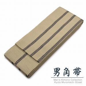 角帯 メンズ角帯 日本製 浴衣や着物に「ベージュ系、二本線」KOBd-27|kyoto-muromachi-st