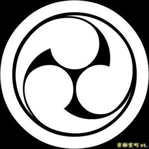 家紋シール 着物用 貼り付け家紋 6枚入り「丸に左三つ巴」 ネコポス可 KOM114 kyoto-muromachi-st