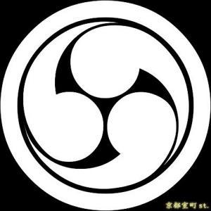 家紋シール 着物用 貼り付け家紋 6枚入り「丸に右三つ巴」 ネコポス可 KOM115 kyoto-muromachi-st