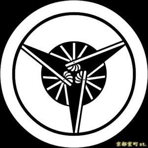 家紋シール 着物用 貼り付け家紋 6枚入り「丸に三つ扇」 ネコポス可 KOM133