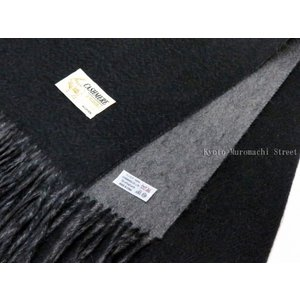 カシミヤ ストール 両面 リバーシブル 大判 ストール(カシミア 100%)「ブラック×グレー」KST475|kyoto-muromachi-st