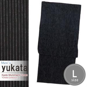 メンズ 浴衣 綿麻 先染めの男性用浴衣 Lサイズ「黒系」KWYL-0102|kyoto-muromachi-st