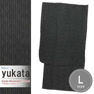 メンズ 浴衣 綿麻 先染めの男性用浴衣 Lサイズ「カーキグレー」KWYL-0104|kyoto-muromachi-st
