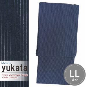 メンズ 浴衣 綿麻 先染めの男性用浴衣 LLサイズ「紺系」KWYLL-0101|kyoto-muromachi-st