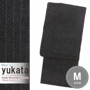 メンズ 浴衣 綿麻 先染めの男性用浴衣 Mサイズ「チャコール系」KWYM-0107|kyoto-muromachi-st