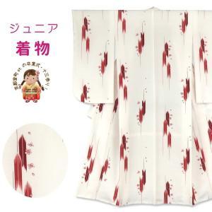 小学校の卒業式 十三参りに 総柄(小紋柄)のジュニア合繊振袖(150サイズ)「紅白」KYG155|kyoto-muromachi-st