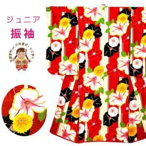 着物 子供 小学生向け 総柄 ジュニアサイズの振袖 合繊 単品「赤 椿」MBJ504|kyoto-muromachi-st